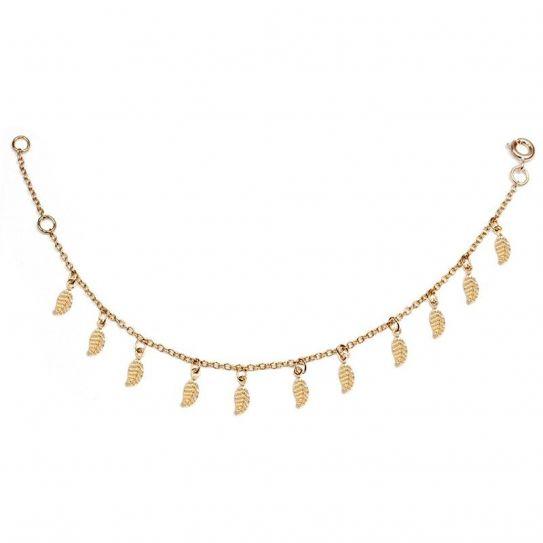Bracelet plaqué or feuilles
