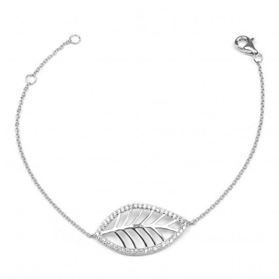 Bracelet feuille argent rhodie