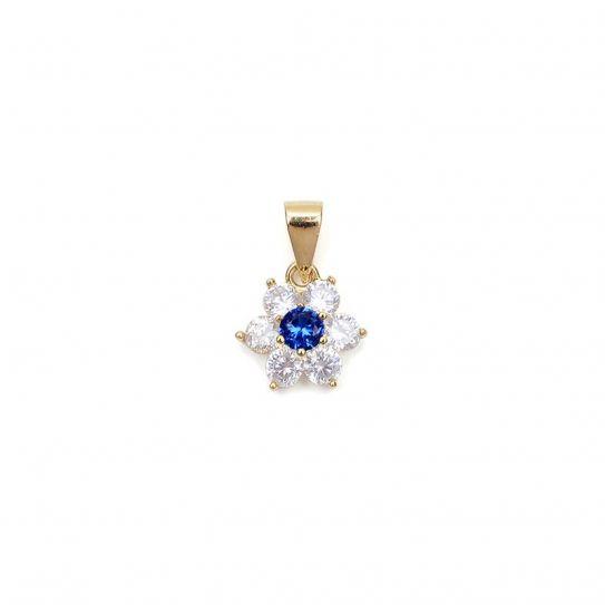 Pendentif fleur plaqué or oxyde de zirconium/bleu