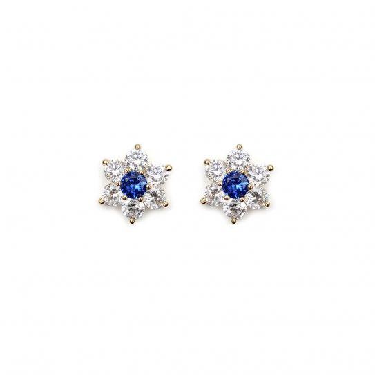 Boucle d'oreille plaqué or fleur oxyde de zirconium/bleu
