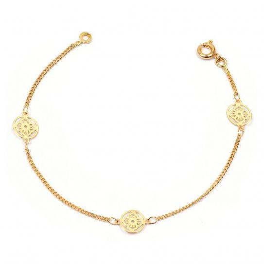 Bracelet plaqué or fleur filigrane