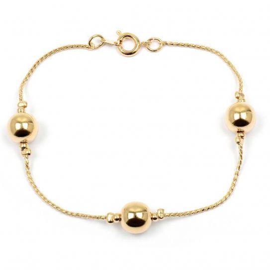 Bracelet plaqué or boule