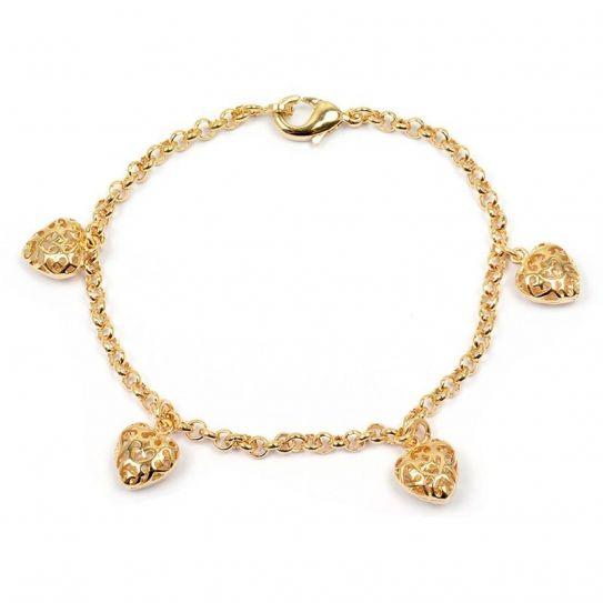 Bracelet plaqué or breloque cœur