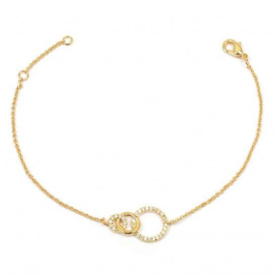Bracelet plaqué or trois anneaux