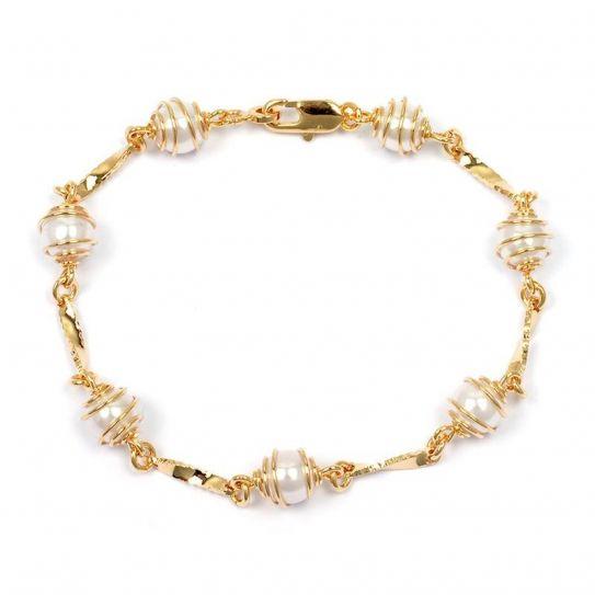 Bracelet plaqué or perle nacrée