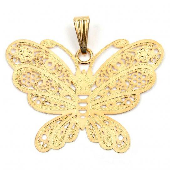 Pendentif plaqué or papillon filigrane