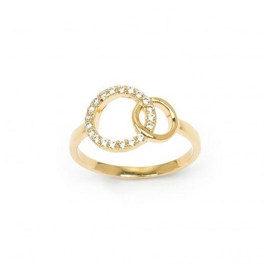 Bague plaqué or deux anneaux