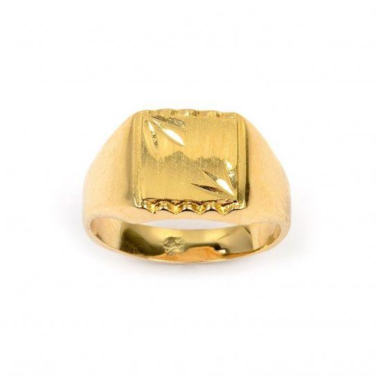 Bague chevalière plaqué or diamantée