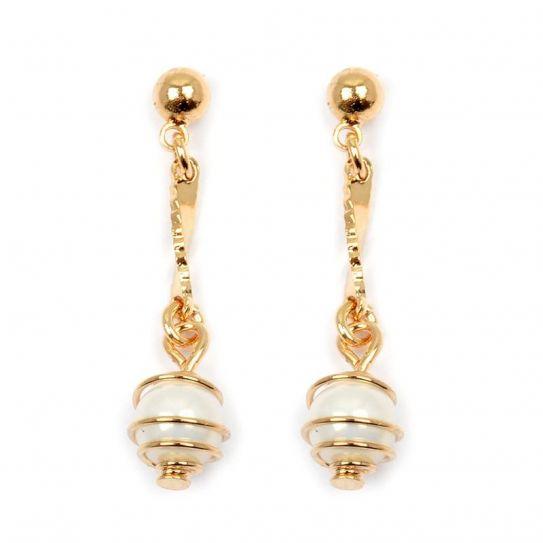 Boucle d'oreille plaqué or perle nacrée